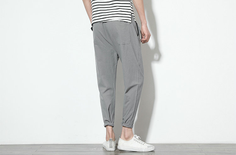 Cotton Linen Joggers Light Grey Men's Harem Pants 4