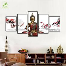 Modern 5pcs Melamine Sponge Board Canvas Oil Painting Zen Buddha Pictures Unframed Prints Wall Art Living Room(China)