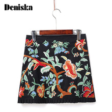 Buy DENISKA Women Vintage Boho Embroidery Skirts Faldas Hem Ruffles Zipper European Style Fashion Streetwear Black Mini Skirts for $16.79 in AliExpress store