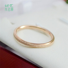 Korean Style Round Shape Rose Gold and Silver Color Scrub Stainless Stell Titanium Tail Ring For Women Men Jewelry(China)
