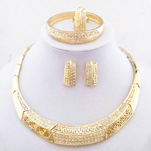 Gold Color AAA Crystals Jewelry Set Necklace Bangle Ring Earrings Women African Fashion Jewelry Sets