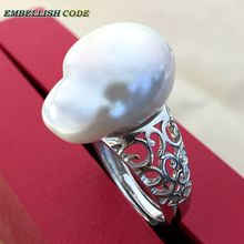 Adjustable size Resize baroque pearl 925 silver ring Retro hyperbole white Lustrous tissue nucleated fire ball shape for women