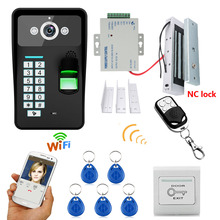 720P Wireless WIFI RFID Fingerprint Recognition Video Door Phone Doorbell Intercom System + Electric Magnetic Door Lock 180KG(China)