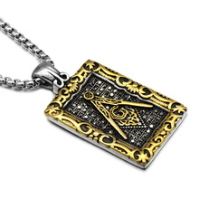 HIP Punk Retro Pattern Masonic Free Mason Freemasonry Pendants Necklaces Gold/Silver Stainless Steel Necklace for Men Jewelry