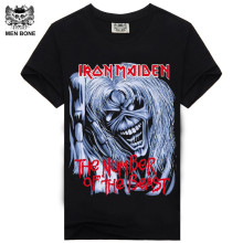 [Men bone] Men T Shirt Black T-Shirt T shirts Cotton Iron Maiden Skull Print Hip Hop Punk Rock Swag Male Hipster Black Tee