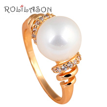 Engagement Rings for Women Pearl Jewelry  Gold Tone Zircon Fashion Jewelry Health Golden Element Ring Sz #7#8#9#10 JR2067