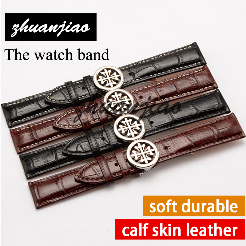 Real Italy leather is directly from the Italy,20mm black brown Genuine Leather Watchband with Original Buckle Watchstrap<br>