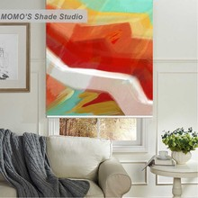 MOMO Painting Window Curtains Roller Shades Blinds Thermal Insulated Blackout Fabric Custom Size, PRB set80-85