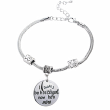 Buy Love Beads Daddy Used Angel Now He's Mine Charm Bracelet Family Fathers Day Gifts Chain Bangle Jewelry Men Bijoux for $1.20 in AliExpress store