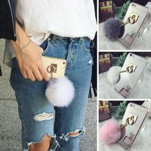 Fur Pompom Plating Mirror TPU Surface Plush Ball Style Protection Cover Mobile Phone case For iphone 7 6 6S plus 5 5S Capa Coque