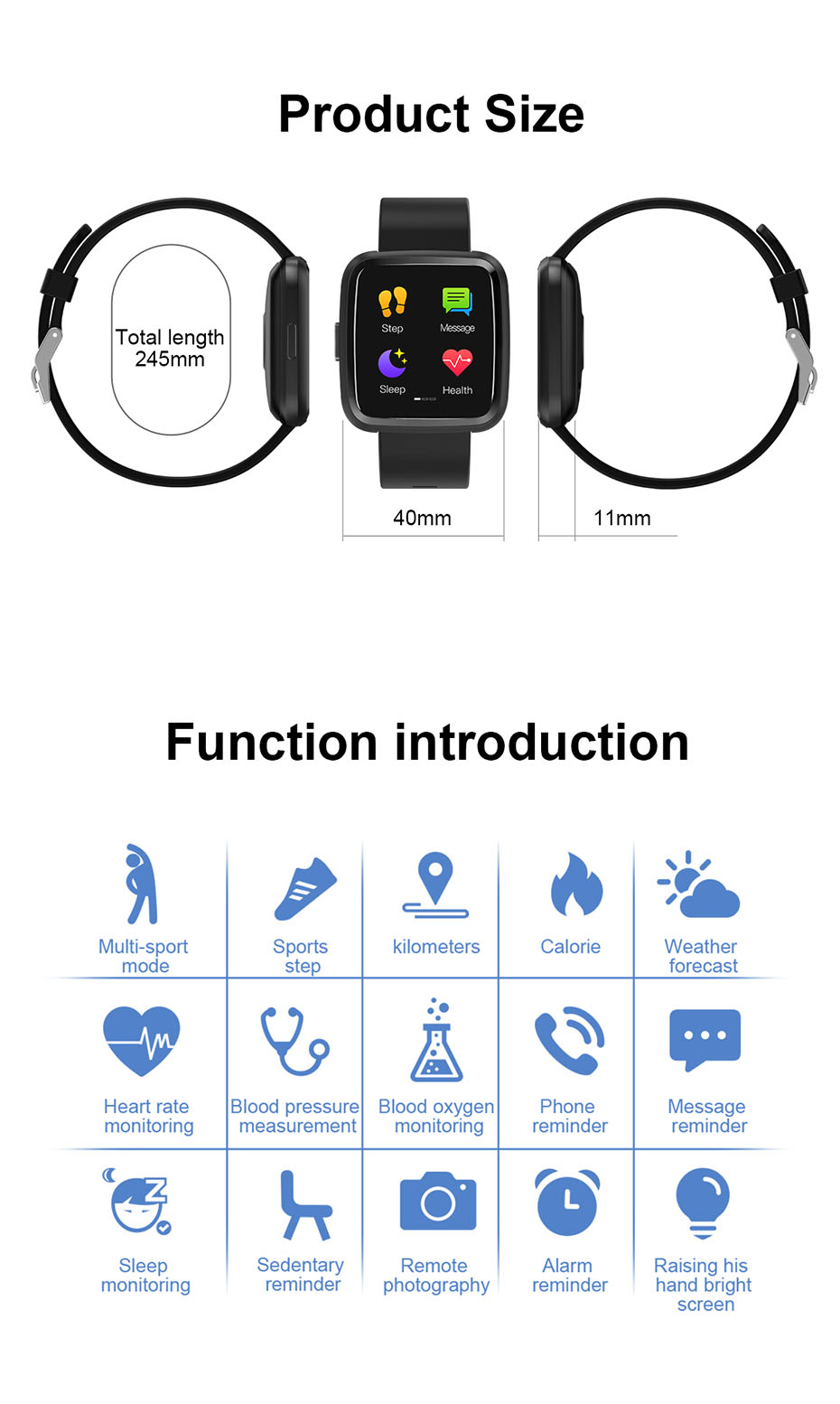 COLMI CY7 PRO Smart watch Full screen touch IP67 waterproof Bluetooth Sport fitness tracker Smartwatch For IOS Android Phone 10