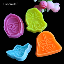 Spring Press 4pcs Star Wars Mold Bakeware Cook Tools Fondant Pudding Mould Galletas Cozinha Cartoon Movie Cutter Mold 04118