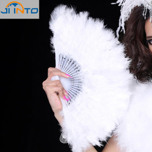 50PCS Free shipping white feather wedding party decoration mariage ball lady folding hand fan(China)