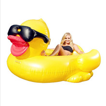 Summer selling green pvc inflatable  duck floating row of stock supply adult water ride floating bed, hot swimming ring