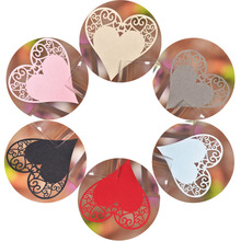 50pcs 9 Colors DIY Place Card Laser Cut Heart Shape Wedding Invitation Wine Glass Cup Paper Cards Name Card Wedding Party Decor(China)