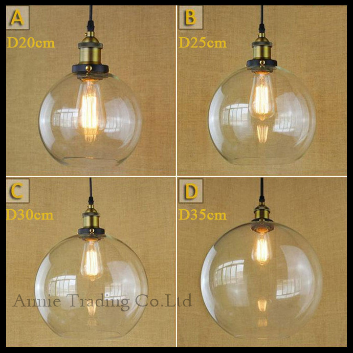 D20/D25/ D30/ D35cm Big Clear Globe Ball Glass Lampshade Retro Vintage dining room industry luminaria art hanging lights fixture<br>