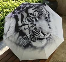 Novelty Items Art Painting Umbrella For Men Sliver Coating Anti-uv 3 Folding Animal Umbrellas Tiger Outdoor Parasol