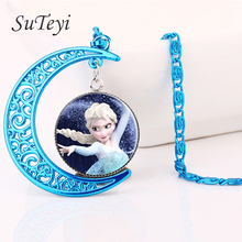 Buy SUTEYI blue moon Necklace Elsa Anna Olaf cartoon Girl Jewelry Round Pendant Choker Necklace Girls Collar Chain Children Gift for $1.06 in AliExpress store