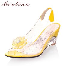 Meotina Ladies Sandals Wedge Sandals Fashion Shoes Women Transparent Sexy High Heels Shoes Flowers Party Sandals Yellow White(China)