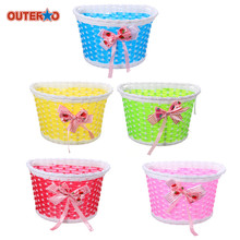 OUTERDO Outdoor Bicycle Bags Panniers Bowknot Front Basket Bicycle Cycle Shopping Stabilizers Basket lovely Gift(China)