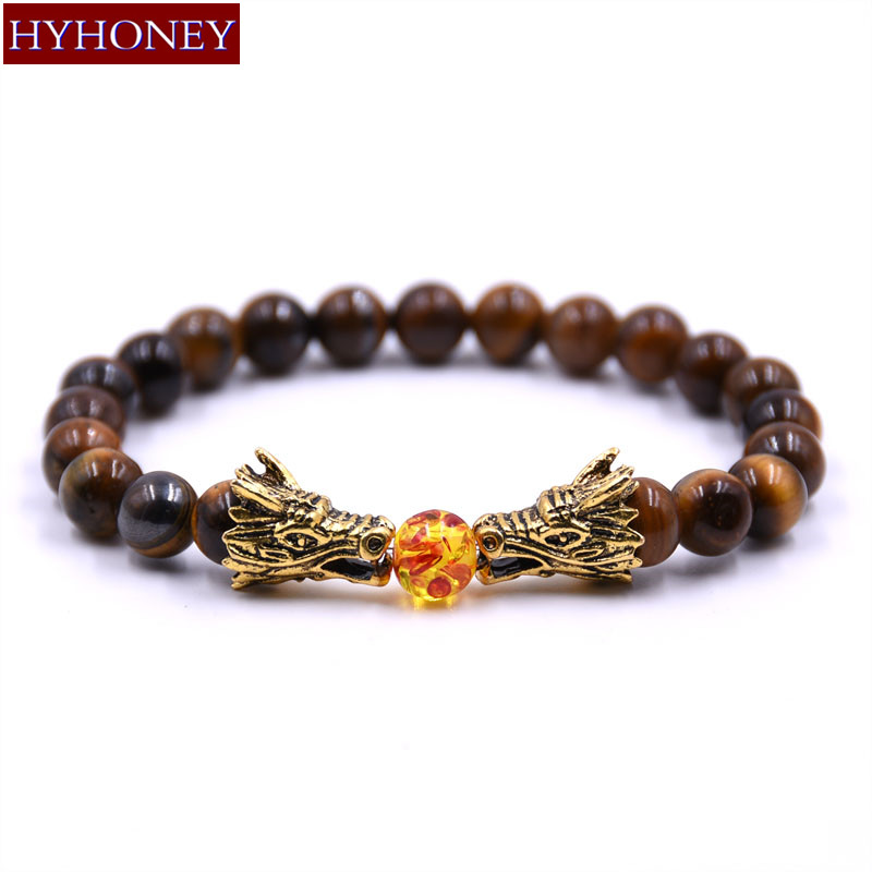 HYHONEY 8MM Natural Stone Beads Bracelet Men bileklik Men Jewelry Dragon pulseras