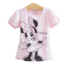 New Sweet Hello Kitty 100% Soft Cotton Cartoon Kids T-Shirt For Girls Baby Girl Summer T Shirts Tops Minnie Tees 2-8yrs(China)