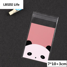 100pcs 7*10+3cm Cute Pink Panda Self Adhesive Food Chocolate Soap Cookie Candy Bags Packaging Plastic OPP Jewelry Gift Poly Bag