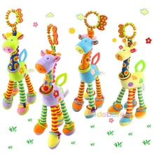 Crib Hanging Toys For Babies Soft Animals Giraffe Rattle Bell Stroller Toys For Kids Teether Early Learning Education Color Toys(China)
