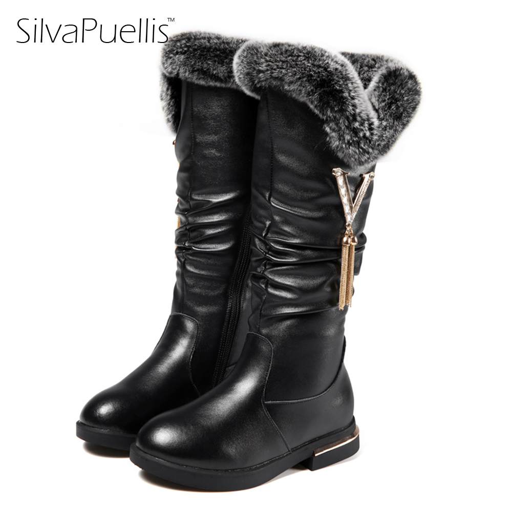 SilvaPuellis 2017 New Winter Girl Rubber Snow Boots Shoes Beautiful Fashion Mid-Calf Warm Plush Snow Boots For Children<br>