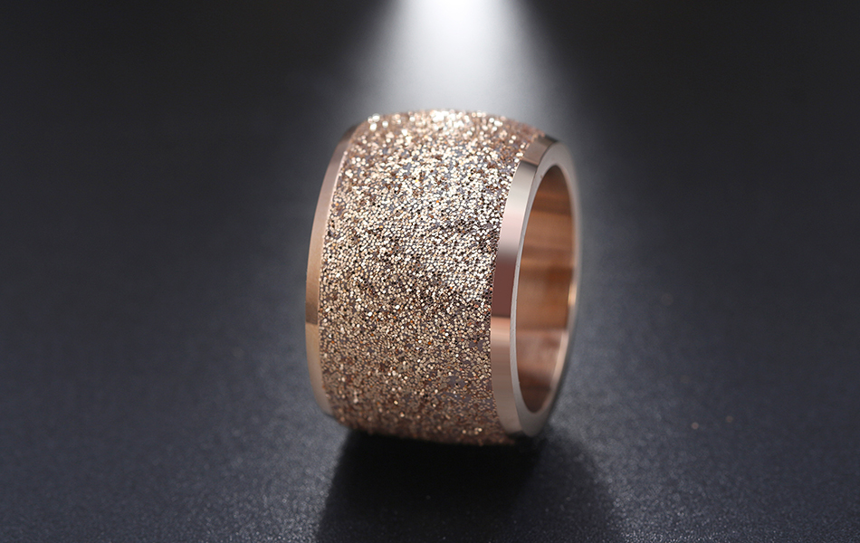 Effie Queen Silver/Rose Gold Color Stainless Steel Rings 16mm Frosting Surface Big Wedding Band Party Ring for Women IR73 8