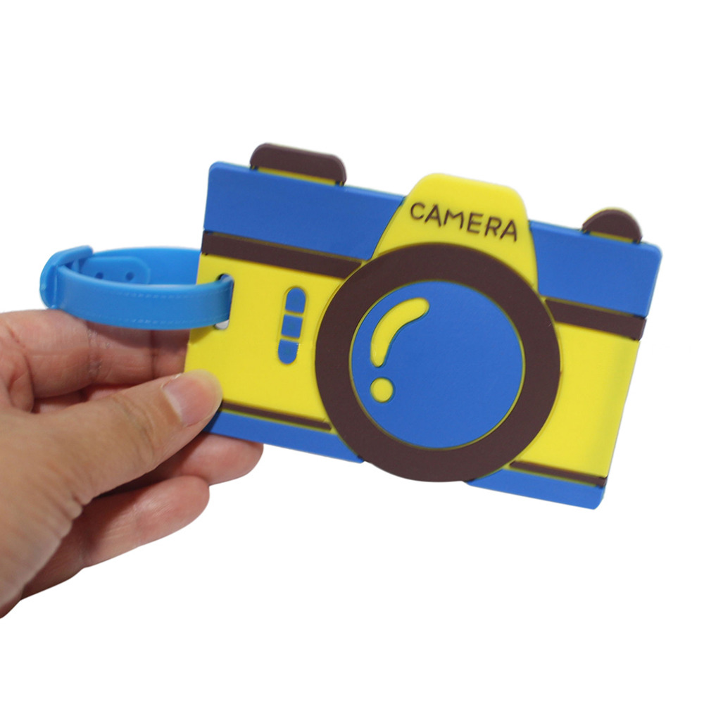 1PC Travel 3D Cute Camera Rubber Luggage Tag ID Identify Label Holder for Suitcase/Handbag/Baggage Recognizable Cover Card