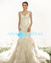 Plus size sexy Embroided wedding gowns Lace open back mermaid wedding dresses patterns 2016 Princess wedding dress