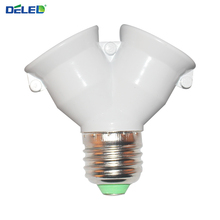 Lamp Holder Converter Socket Conversion with Fireproof Material E27 to 2 E27 Bulb Base type 2E27 Y Shape Splitter Adapter 1Pcs