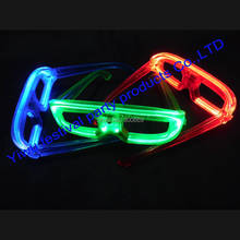 hot sale free shipping Free Shipping El Wire Glow Sun Glasses Led DJ Bright Light Safety Light Up Multicolor Frame(China)