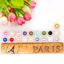 2017 Mix Color 10mm Pearl Button Brass 16mm Silver Metal Round Tray Rhinestone Cabochon Base Cameo Setting DIY Jewelry Charms(China)