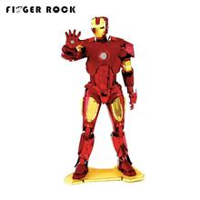 Finger Rock Colors Iron Man Metal 3D Puzzle The Avengers War Machine Model DIY Stainless Steel Jigsaw Toys Gift for Children(China)