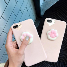 Soft and Stereo Cat Paw Decompression for iPhone5 5s se 7 7plus Phone Case for iPhone6 6s 6p 6splus Pinned Soft Leather Case
