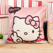 45*45cm Household Pillowcase Cushion Linen Fabric Hello Kitty Home Office Sofa Decor Throw Pillow Cover  B5
