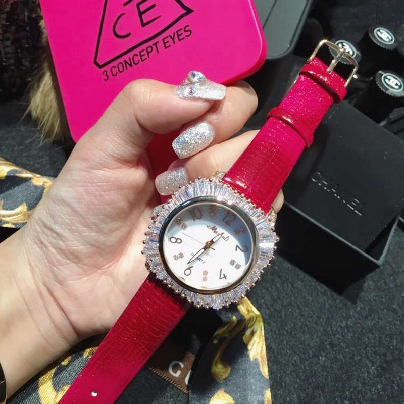 Womens Watch Leather Strap with Crystal Dial Casual Dress Ladies Wrist Watches montre femme relojes mujer 2016<br>