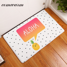 Comwarm in Front of Door Mats Flannel Cute Cartoon Aloha Pineapple Carpets Light Thin Waterproof Kitchen Rugs Mats Home Decor