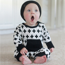 Moonlight Girl Romper Jumpsuit Outfit Autumn 2017 New Cross Pattern Infant Boy Rompers Long-sleeve Kids Baby One Pieces Clothes