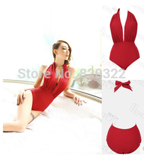 2016 NEW Dig Waist Backless Sexy Red One Pieces Beautiful Wild Swimwear Girl Seducer The wildest Secret Gift Real photos