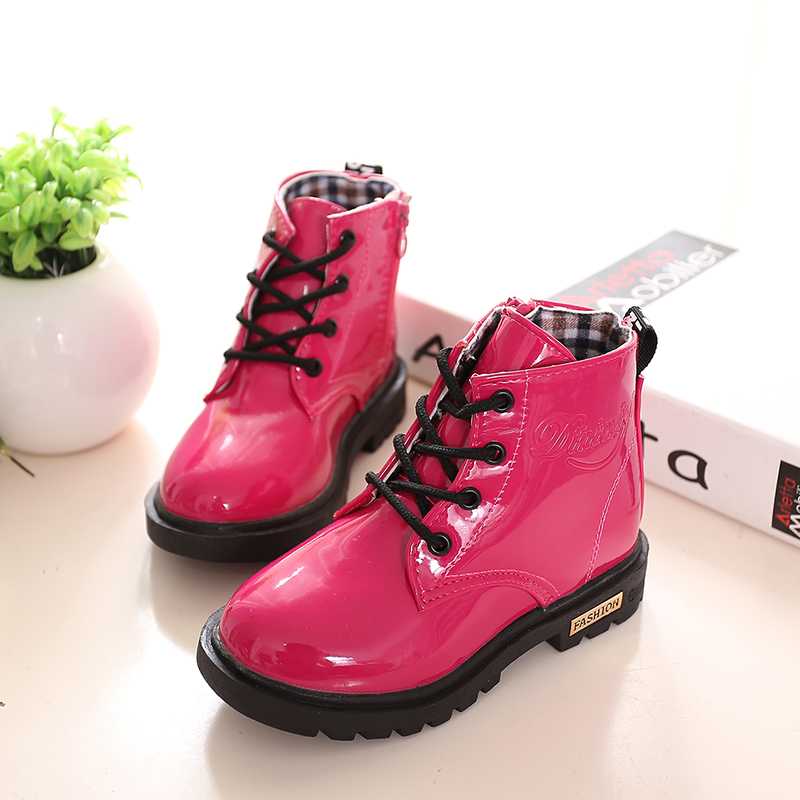 Free shipping 2016 new fashion Autumn children Martin boots boys girls motorcycle boots kids PU leather Winter Rain Snow shoes