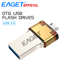 EAGET Official USB 3.0 Flash Drive 32G Pen Drive 16G Micro USB OTG USB Memory Stick Portable Pendrive for Smartphones PC Laptop(China)