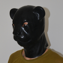 Buy (LH5)Fetish Latex natural full head latex leopard cat pig dog head slave mask rubber hood SM suffocate Mask fetish wear