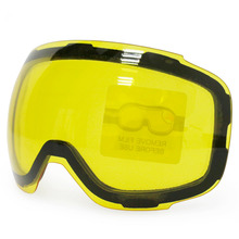 Original Yellow Graced Magnetic Lens for ski goggles GOG-2181 anti-fog UV400 spherical ski glasses snow goggles Night Skiing