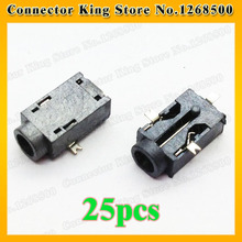 25pcs Table, PDA Widely Using 3pin SMT Power DC Jack Connector Socket, Hole dia 2.5mm Pin 0.7mm, Size 9.5x5x3mm,DC-049