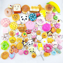 Mini Random Delivery 10/20/30pcs/sets Phone Straps Charm Hot 2016 Brand Squishy Soft Panda/Bread/Cake party supplies decorations(China)