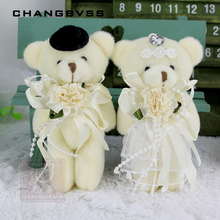 2pcs/pair 12cm Kawaii Stuffed Dolls Couple Bear Wedding Teddy Bear Plush Toys Wedding Gift New Year Christmas Gift Bride & Groom(China)