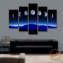 Modern Canvas Wall Painting 5 Piece Blue Night Sky Moon Picture Night Landscape Painting in Living Room Home Decor No Frame